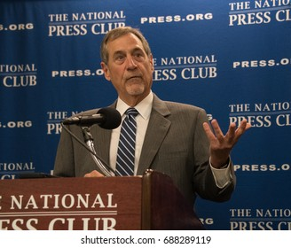 Washington, DC - July 25, 2017: John Thompson, former director of the US Bureau of the Census speaks about his recent resignation at a National Press Club press conference