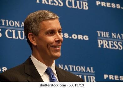 WASHINGTON, DC - JULY 27: U.S. Secretary of Education Arne Duncan speaks at the National Press Club, July 27, 2010 in Washington, DC