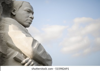 WASHINGTON DC - JULY 30, 2014: The Martin Luther King Jr Memorial, featuring a portrait of the civil rights leader carved in granite, was dedicated by President Barack Obama in 2011.