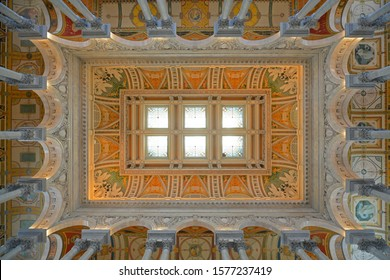 WASHINGTON DC - JUN 24, 2014: Ceiling of Thomas Jefferson Building in Library of Congress on Capitol Hill in Washington District of Columbia DC, USA.