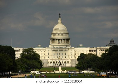 Washington, DC - June 01, 2018: View on the  United States Capitol from National Mall.
