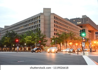 Washington, DC - June 02, 2018: FBI,  Federal Bureau of Investigation Headquarters in Washington.