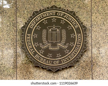 Washington, DC - June 02, 2018: FBI, Federal Bureau of Investigation seal on the Headquarters Edgar Hoover FBI Buildingin in Washington.