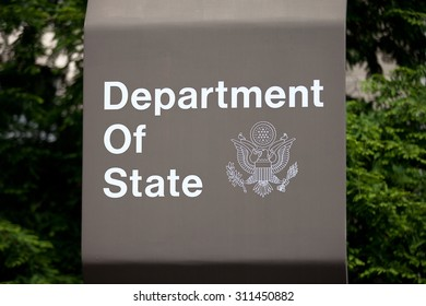 WASHINGTON, DC - JUNE 1: Sign outside of the Department of State in Washington, DC on June 1, 2014.