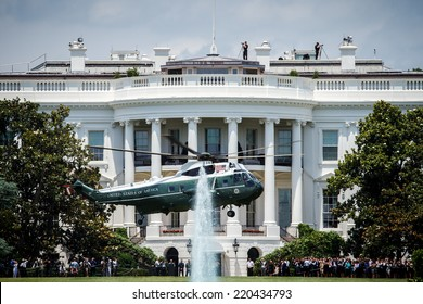 WASHINGTON, D.C. - JUNE 11, 2014: Sikorsky VH-3D Sea King designated as Marine One when carrying the President of the United States takes off from the White House.