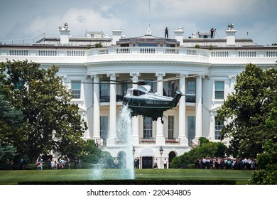 WASHINGTON, D.C. - JUNE 11, 2014: Sikorsky VH-3D Sea King designated as Marine One when carrying the President of the United States lands in front of the White House.