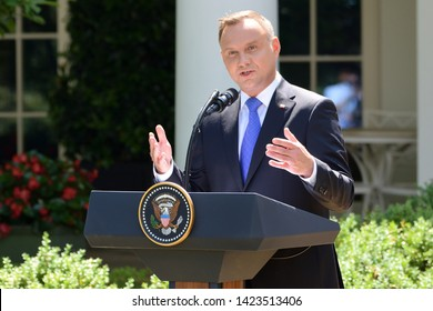 WASHINGTON, DC - JUNE 12, 2019: President Andrzej Duda of Poland delivers remarks at a press conference with President Donald Trump at the White House in the Rose Garden.
