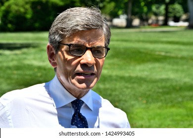 WASHINGTON, DC - JUNE 12, 2019: George Stephanopoulos, Chief Anchor at ABC News arrives at the White House in preparation for an interview with President Donald Trump in the Oval Office.