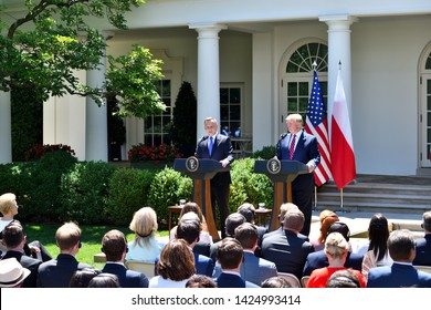 WASHINGTON, DC - JUNE 12, 2019: President Donald Trump and President Andrzej Duda of Poland hold a joint press conference in the Rose Garden of The White House.