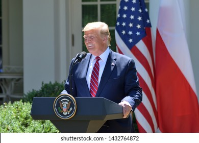 WASHINGTON, DC - JUNE 12, 2019: President Donald Trump smiles as he delivers remarks at a press conference in the Rose Garden of the White House with Polish President Andrzej Duda.