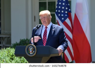 WASHINGTON, DC - JUNE 12, 2019: President Donald Trump addresses reporters' questions at a press conference in the Rose Garden of the White House with Polish President Andrzej Duda.