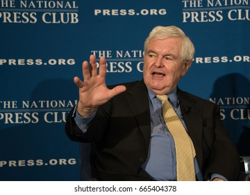 Washington, DC - June 16,2017: Former Speaker of the House of Representatives Newt Gingrich speaks about his book, Understanding Trump, at the National Press Club