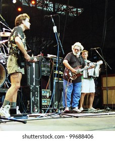 WASHINGTON, D.C. - JUNE 20: The Grateful Dead in concert in Washington, D.C., on Saturday, June 20, 1992. From left Bob Wier, Jerry Garcia, and Bruce Hornsby.