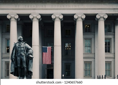 Washington DC, June 2017, United States: Albert Gallatin statue in front of the northern entrance to the United States Treasury Building