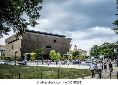Washington DC, June 2017 United States: View of the National Museum of African American History and Culture from the National Mall in Washington DC munumental park where are the most beautiful museums
