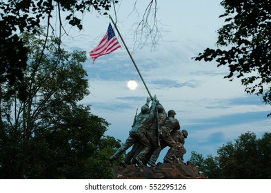 WASHINGTON, DC - JUNE 21, 2013: Iwo Jima Memorial in Washington DC. The Memorial honors the Marines who have died defending the US since 1775 and a prominent tourist attraction in Washington DC.