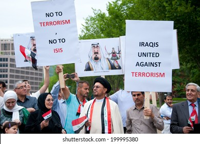 WASHINGTON, DC - JUNE 21: Iraqi demonstrators protested against ISIS in front of the White House in Washington, DC on June 21, 2014.