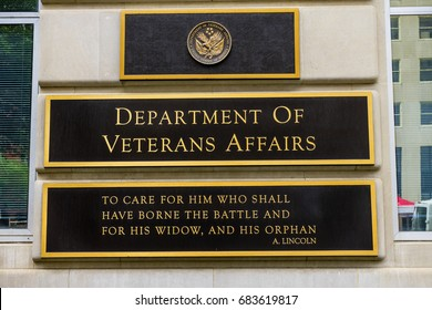 WASHINGTON DC - JUNE 22, 2017 US Department of Veteran Affairs Washington DC.  Veteran Affairs starts Revolutionary War.  Abraham Lincoln's quote is famous.  Veteran Affairs start 1930