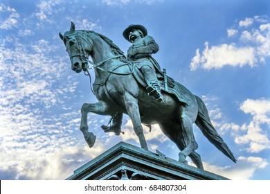 WASHINGTON, DC - JUNE 22, 2017 General John Logan Civil War Memorial Logan Circle Washington DC. Statue dedicated 1901, Sculptor Richard Hunt. Won Congressional Medal of Honor at Vicksburg.