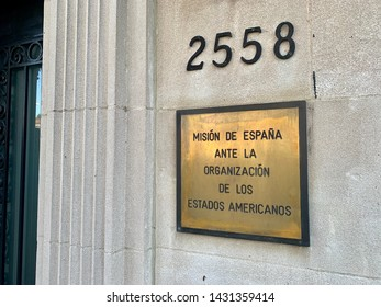 WASHINGTON, DC - JUNE 22, 2019: MISSION OF SPAIN TO THE ORGANIZATION OF AMERICAN STATES OAS - sign at entrance