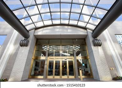 WASHINGTON, DC - JUNE 23, 2019:  Entrance to the U.S. Federal Communications Commission Headquarters.