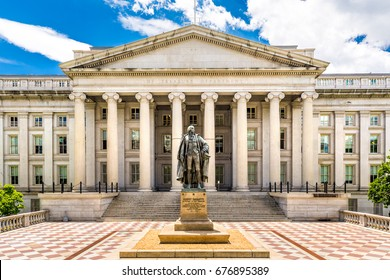 WASHINGTON DC - JUNE 24, 2017: The Treasury Building in Washington D.C. This public building is a National Historic Landmark and the headquarters of the US Department of the Treasury