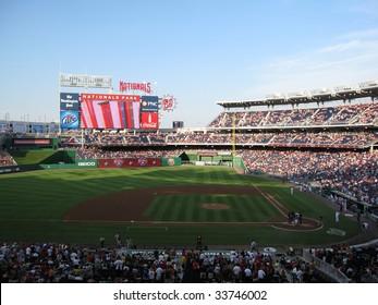WASHINGTON D.C. - JUNE 25 : A Major League Baseball game takes place at Nationals Park June 25, 2009 in Washington, D.C.