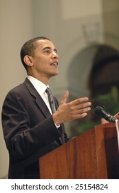 WASHINGTON, DC - JUNE 27, 2006: Barack Obama speaks on issues of faith and politics at the Sojourners conference held at National City Christian Church in Washington, DC on June 27, 2006.