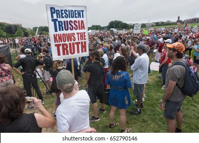 WASHINGTON, DC - JUNE 3, 2017: Participants in the March for Truth rally near Washington Monument. listening to speakers calling for investigation of Donald Trump's collusion with Russia.