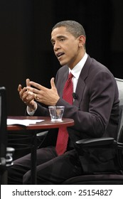 WASHINGTON, DC - JUNE 4, 2007: Barack Obama answers questions during the interview portion of CNN and Sojourners' forum on faith, values, and poverty
