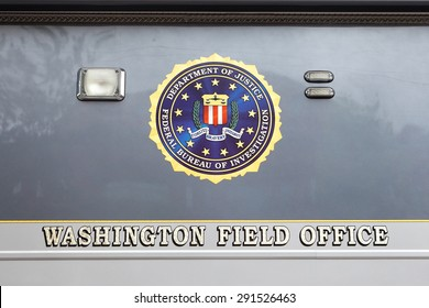 WASHINGTON, DC - JUNE 5: FBI seal on a Mobile Command Center parked in front of the Federal Bureau of Investigation Washington Field Office in Washington, DC on June 5, 2015.