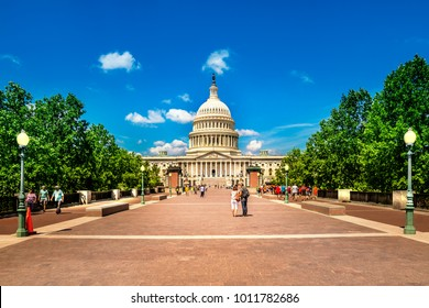 Washington DC - June 6, 2017: United States Capitol Building in Washington DC - East Facade of the famous US landmark with tourists.