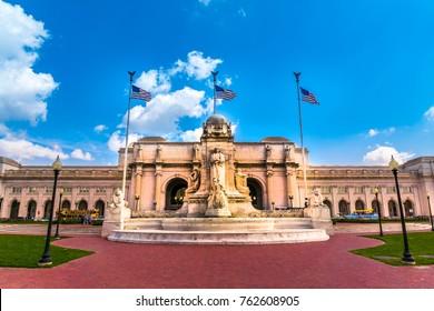Washington DC - June 6, 2017: Union Station at columbus circle with Christopher Columbus Memorial Fountain in Washington D.C.
