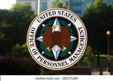 WASHINGTON, DC - JUNE 6: Emblem on the door of the Office of Personnel Management (OPM) in Washington, DC on June 6, 2015. OPM manages the civil service of the federal government.