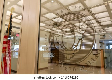 WASHINGTON, DC - JUNE 8, 2019: US COPYRIGHT OFFICE - LIBRARY OF CONGRESS - sign seal emblem coat of arms at entrance