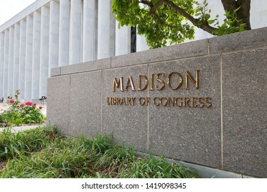WASHINGTON, DC - JUNE 8, 2019: UNITED STATES LIBRARY OF CONGRESS - MADISON BUILDING - sign at exterior