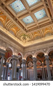 WASHINGTON, DC - JUNE 8, 2019: UNITED STATES LIBRARY OF CONGRESS - building interior