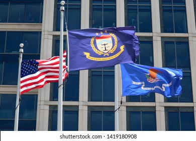 WASHINGTON, DC - JUNE 8, 2019: Bureau of Alcohol, Tobacco, Firearms and Explosives - ATF - Department of Justice - flags at headquarters building