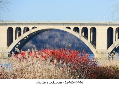 Washington DC - Key Bridge on Potomac River in winter season