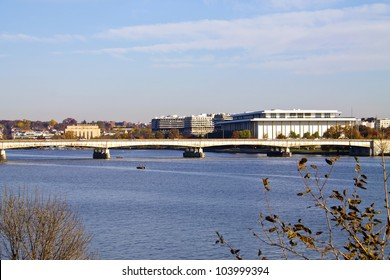 Washington, DC, landscape view, Theodore Roosevelt Bridge over Potomac River and Kennedy Art center in distance