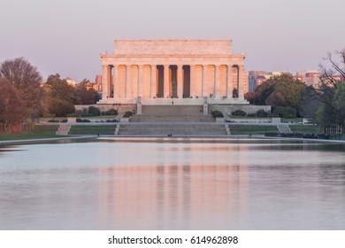 Washington DC, Lincoln memorial and its water reflection at dawn