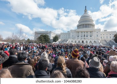 WASHINGTON, DC - MAR. 14, 2018: Students from area high schools during National School Walkout at the U.S. Capitol after marching from the White House, protesting government inaction on gun control.