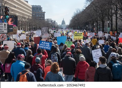 WASHINGTON, DC – MAR. 24, 2018: Hundreds of thousands of students and supporters at the massive March for Our Lives rally on Pennsylvania Avenue demanding government action on gun control and violence