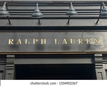WASHINGTON, DC - MARCH 10, 2019: RALPH LAUREN - sign at retail entrance.