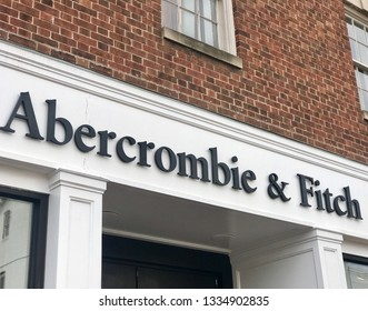 WASHINGTON, DC - MARCH 10, 2019: ABERCROMBIE & FITCH - sign at retail entrance.