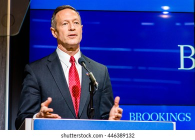WASHINGTON DC - MARCH 11, 2015: Democratic Presidential candidate Martin O'Malley speaks at the Brookings Institute about his political career.
