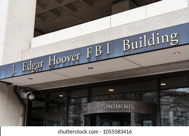 WASHINGTON, DC - MARCH 14, 2018: Front facade of the J. Edgar Hoover FBI Building in Washington DC
