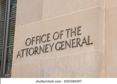 WASHINGTON, DC - MARCH 14, 2018: Office of the Attorney General Sign on the Department of Justice Building in Washington, DC