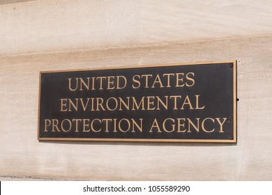 WASHINGTON, DC - MARCH 14, 2018: Environmental Protection Agency sign at the EPA Building in Washington, DC