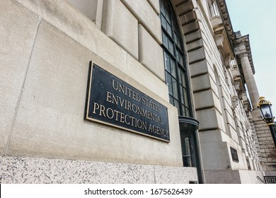 WASHINGTON, DC - MARCH 16, 2020: EPA headquarters building, One of several doorways at Federal Triangle campus. EPA is the Environmental Protection Agency.